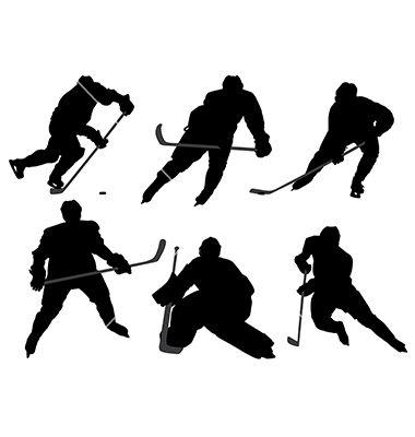 Ice hockey player silhouette vector