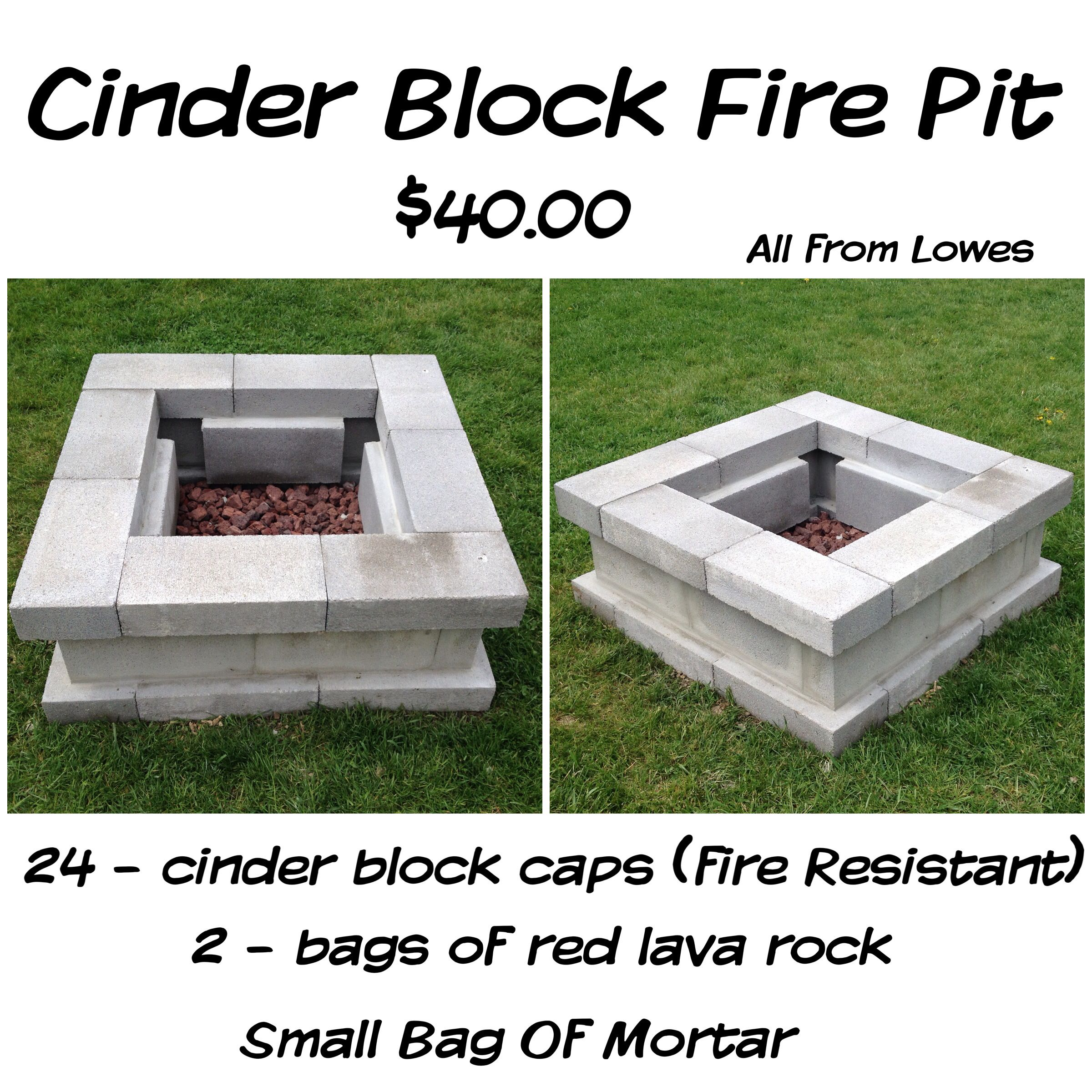Cinder Block Fire Pit For Just 40 28 Caps Resistant Small Bag Of Mortar 2 Bags Lava Rock Wa La All Purchased From Lowes