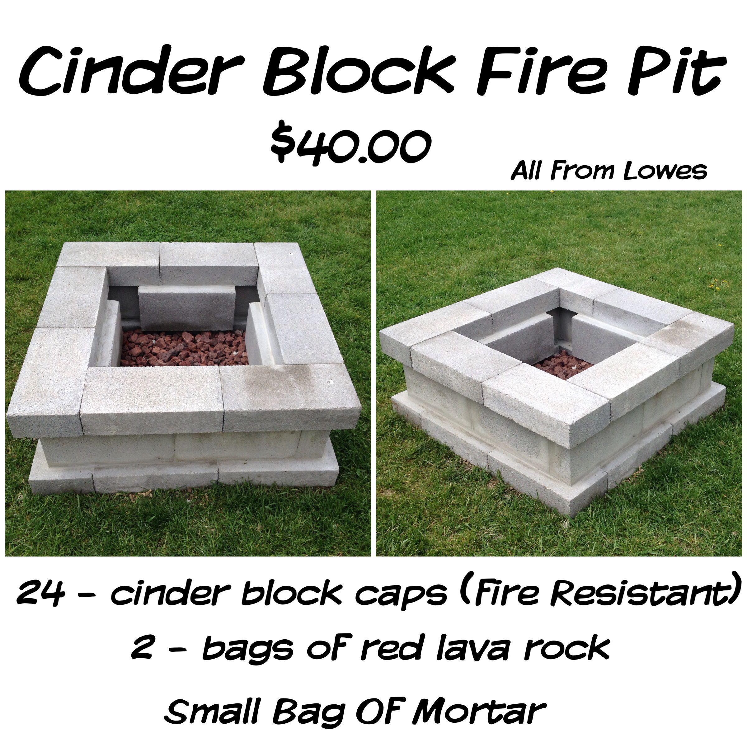 Cinder Block Fire Pit For Just 40 28 Cinder Block Caps Fire