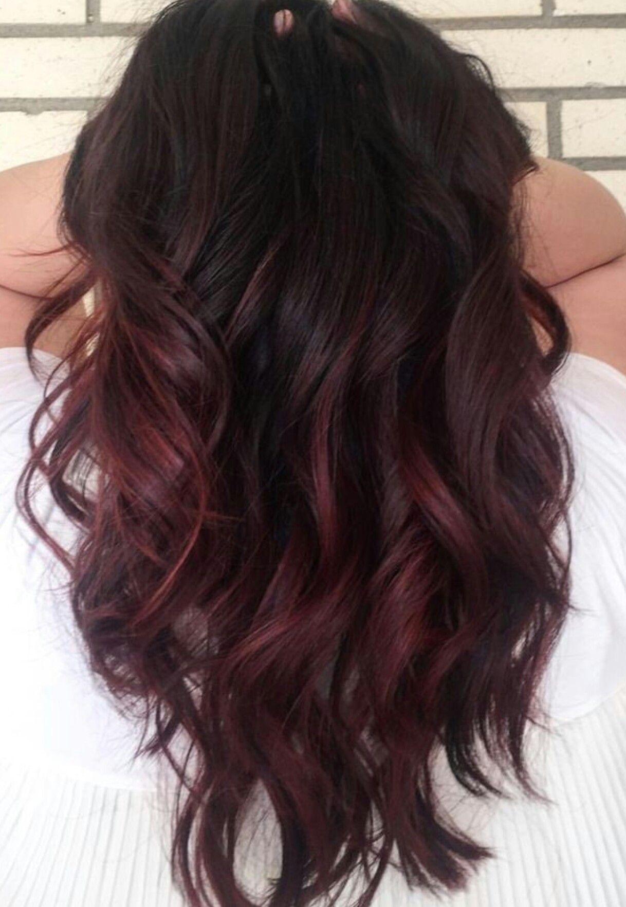 chocolate cherry balayage hair