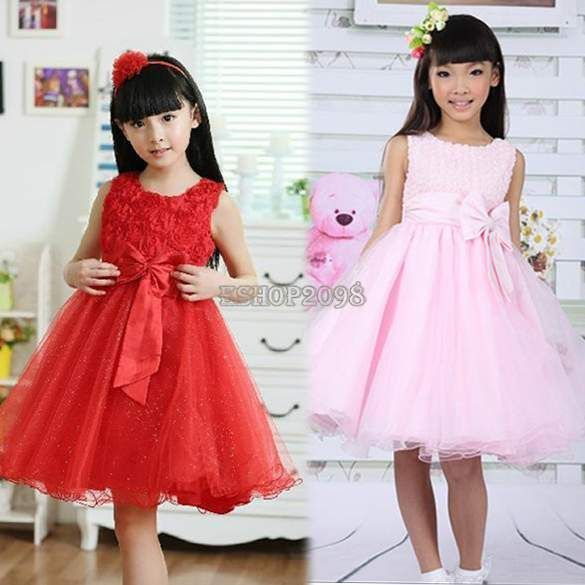 Girls Kids Princess Bridesmaid Wedding Party Bow Ball Gown Fancy Dress EP98