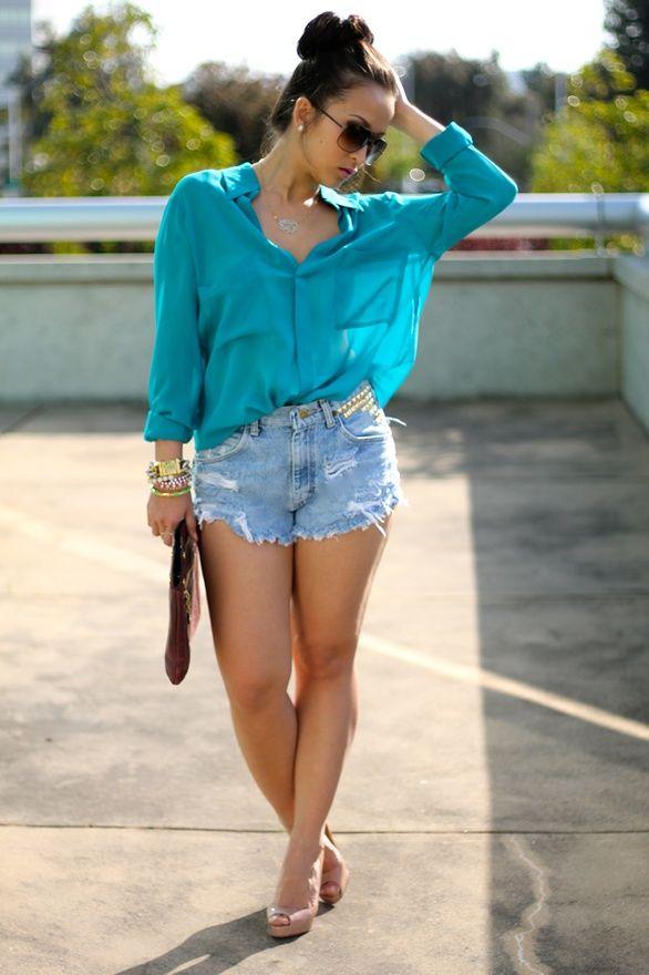 DIY distressed studded shorts | Fashion, Style, Summer fashion