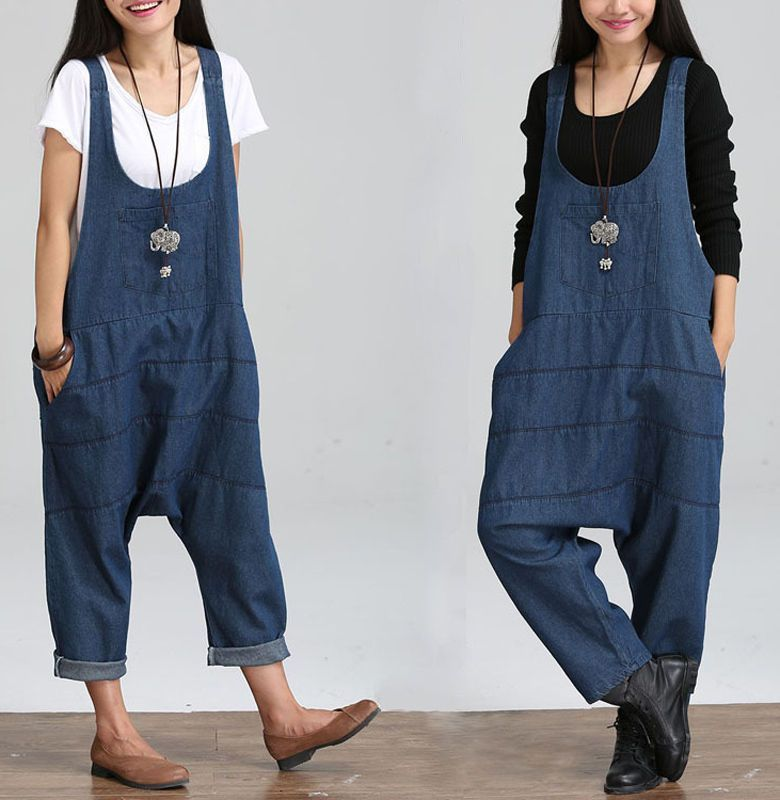 ca33aa182fac Womens Jeans Suspender Trousers Loose Jumpsuit Suspender Overalls M L Xl