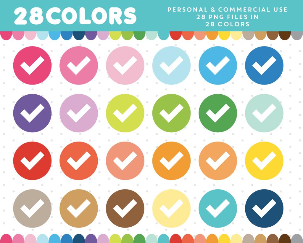 Checkmark Clipart In 28 Colors Cl 574 Clip Art Digital Paper Planner