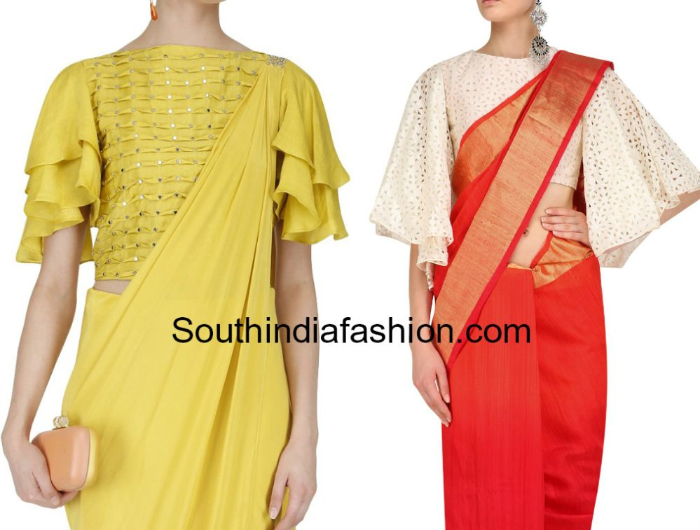 5f5c30428f82e9 Bell Sleeves and Ruffle Sleeves Blouse Designs For Sarees