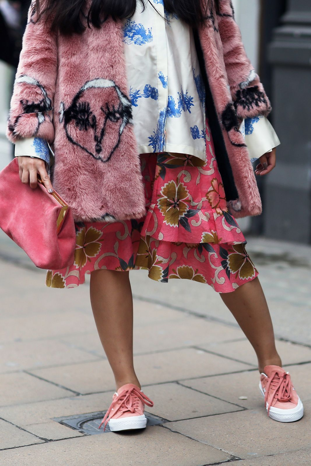 A masterclass in maternity dressing, courtesy of Susie Bubble. Never have so many colors and patterns looked so good together.Shrimps coat. #refinery29 http://www.refinery29.com/2016/09/123831/lfw-spring-2017-best-street-style-outfits#slide-39