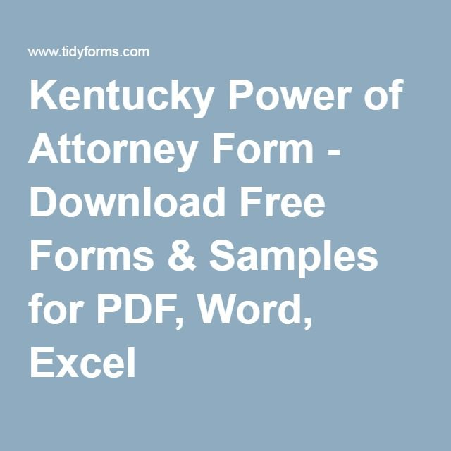 Kentucky Power Of Attorney Form Download Free Forms Samples For