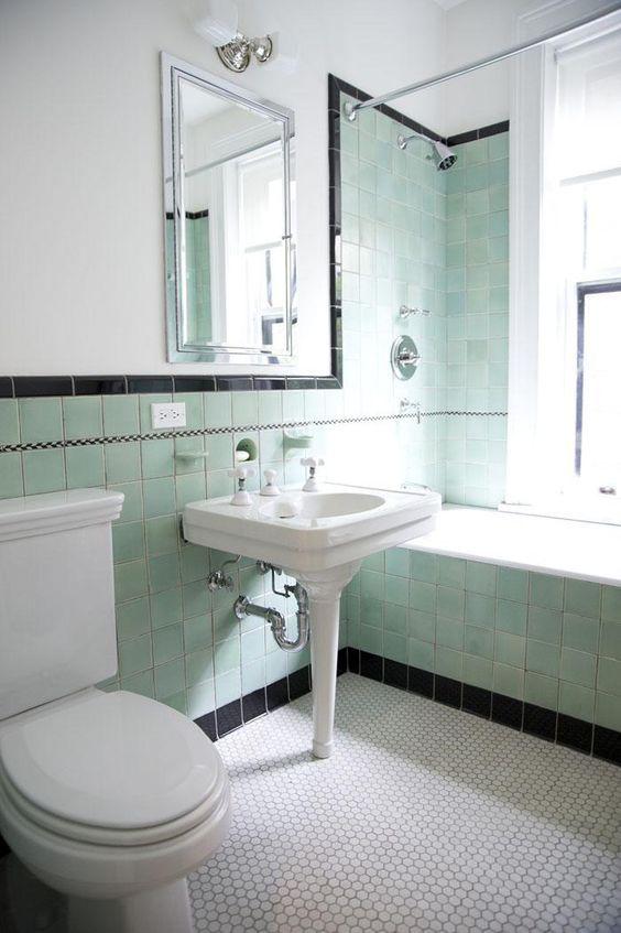 accentuating black border tiles on the bathroom walls | Interior ...