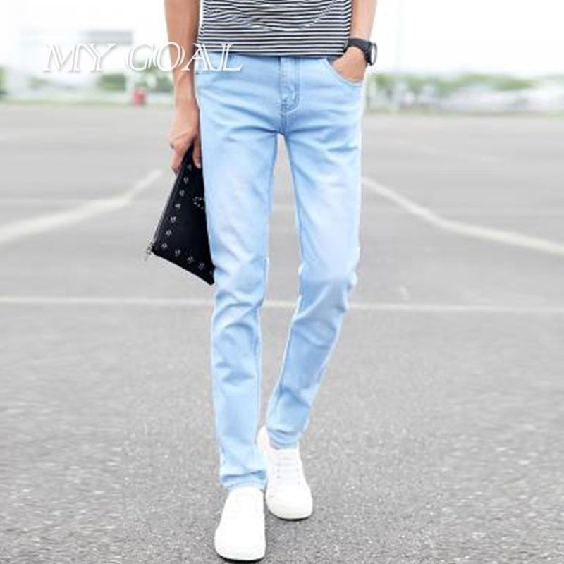 413148d92a7 2016 spring and summer new men s jeans pants Korean style influx sky blue  casual trousers cool stretch man pants 2 colors jeans