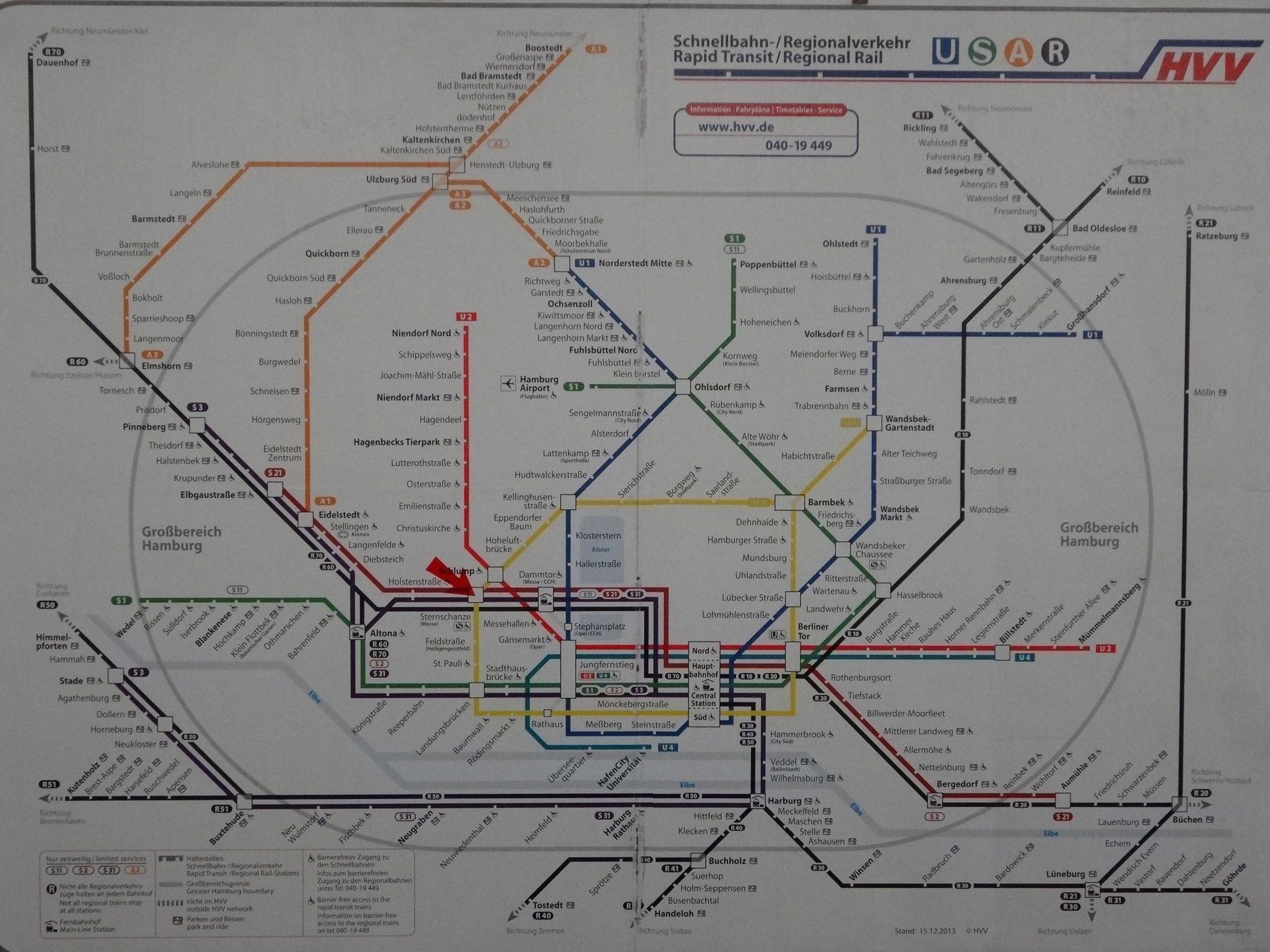 Hvv Plan Fur U Und S Bahn In Hamburg Hamburg S Bahn Verkehr