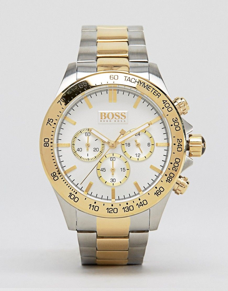 770848a8f BOSS BY HUGO BOSS 1512960 GOLD DETAIL CHRONOGRAPH STAINLESS STEEL WATCH -  SILVER. #boss #