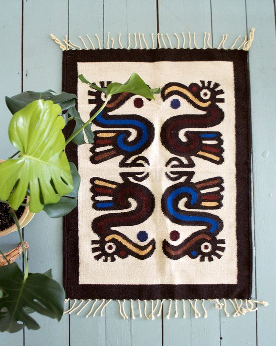 Small Zapotec Rug With Bird Motif Vintage Wool Rug