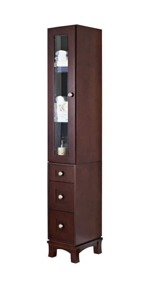 12 Inch W Solid Cherry Wood Linen Tower With Soft Close Door And Drawers In Coffee Finish Wood Veneer Tall Cabinet Storage Cherry Wood