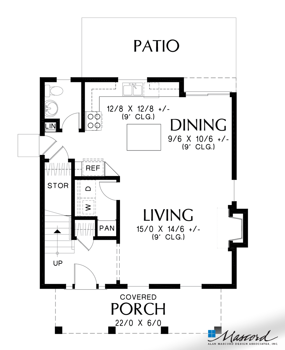 Mascord House Plan 21149a The Mahoney Main Floor Plan Farmhouse Style House Plans Contemporary House Plans House Plans