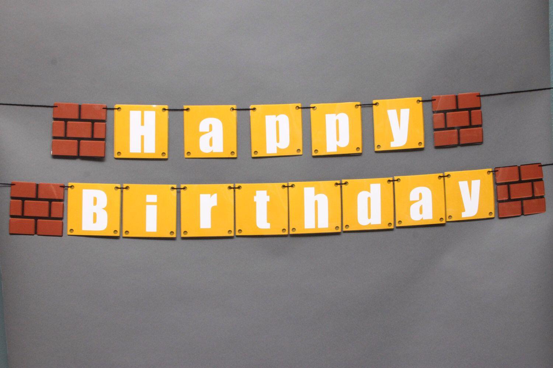 Super Mario Happy Birthday Banner Mario Bros Party Super Mario Bros Party Super Mario Birthday Party