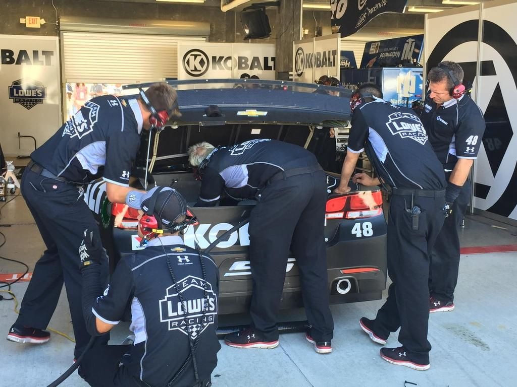 Boys working hard to get @JimmieJohnson safely back on track.