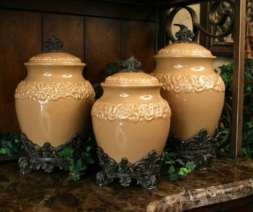 Details about Tuscan Kitchen Ceramic Square Canister Set ...