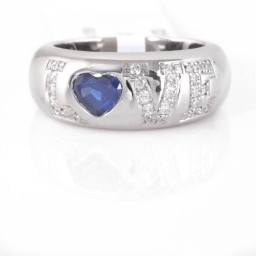 Chopard 18-karat White Gold, Sapphire And Diamond Ring