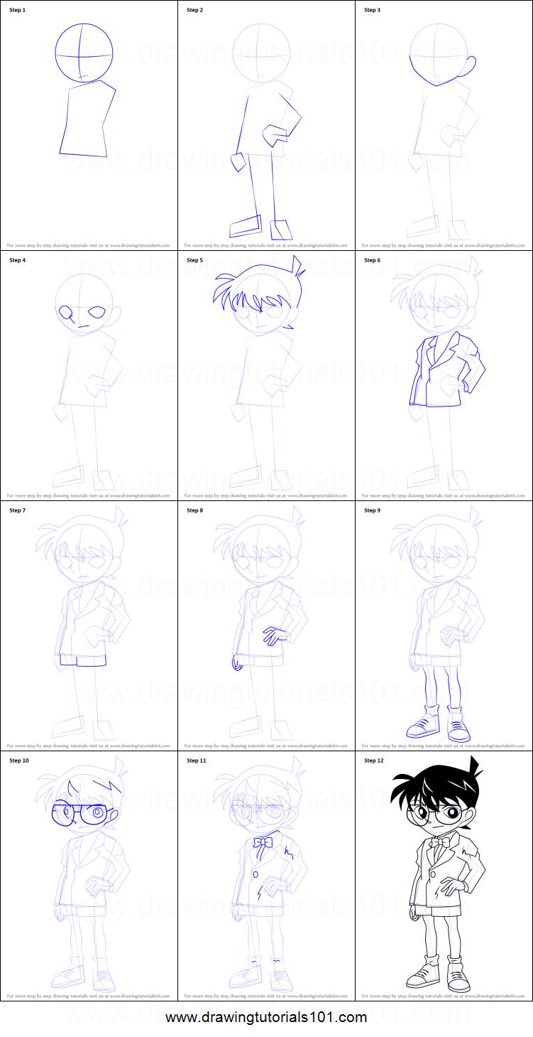how to draw conan edogawa from detective conan printable step by step drawing sheet drawingtutorials101