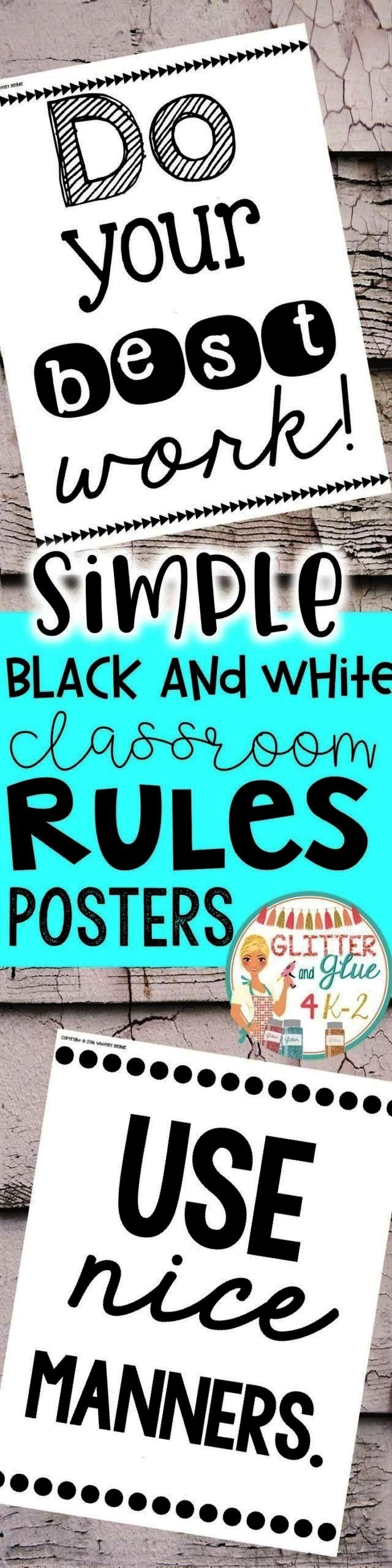 and White Posters for Classroom Rules Twelve Simple Black and White Posters for Classroom Rules,Twe