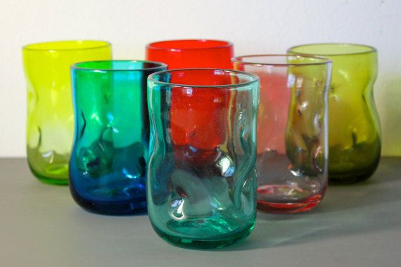 Blenko Dimple Pinched Glass Tumblers Set Of 6 Mid Century Drinking Glasses Multi Colored Glass Glass Tumbler Stemless Wine Glass