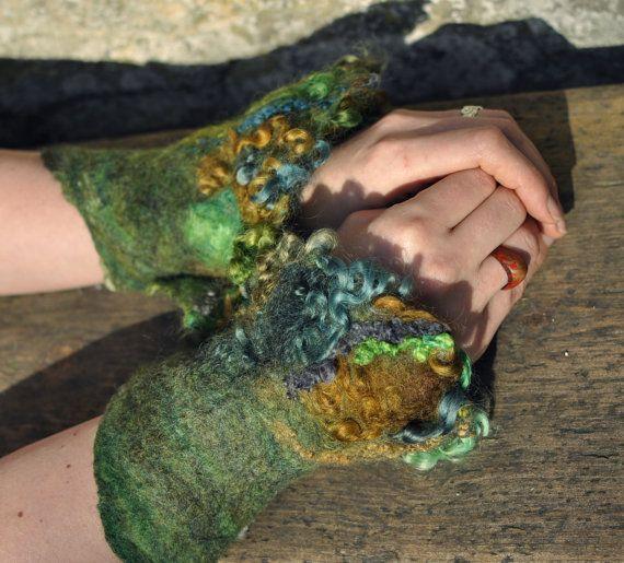 Hand felted wool cuffs 'Woodland'  faerie cuff by Innerspiral, £38.00