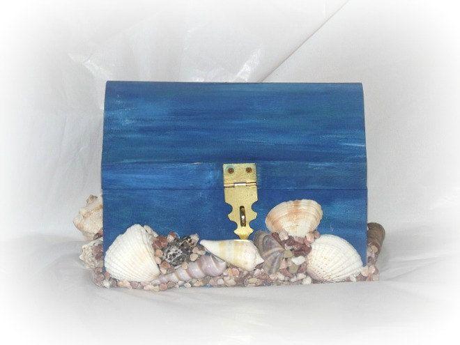 How To Decorate A Treasure Box Seashell Treasure Chest Bank Seashell Box Jewelry Box Trinket