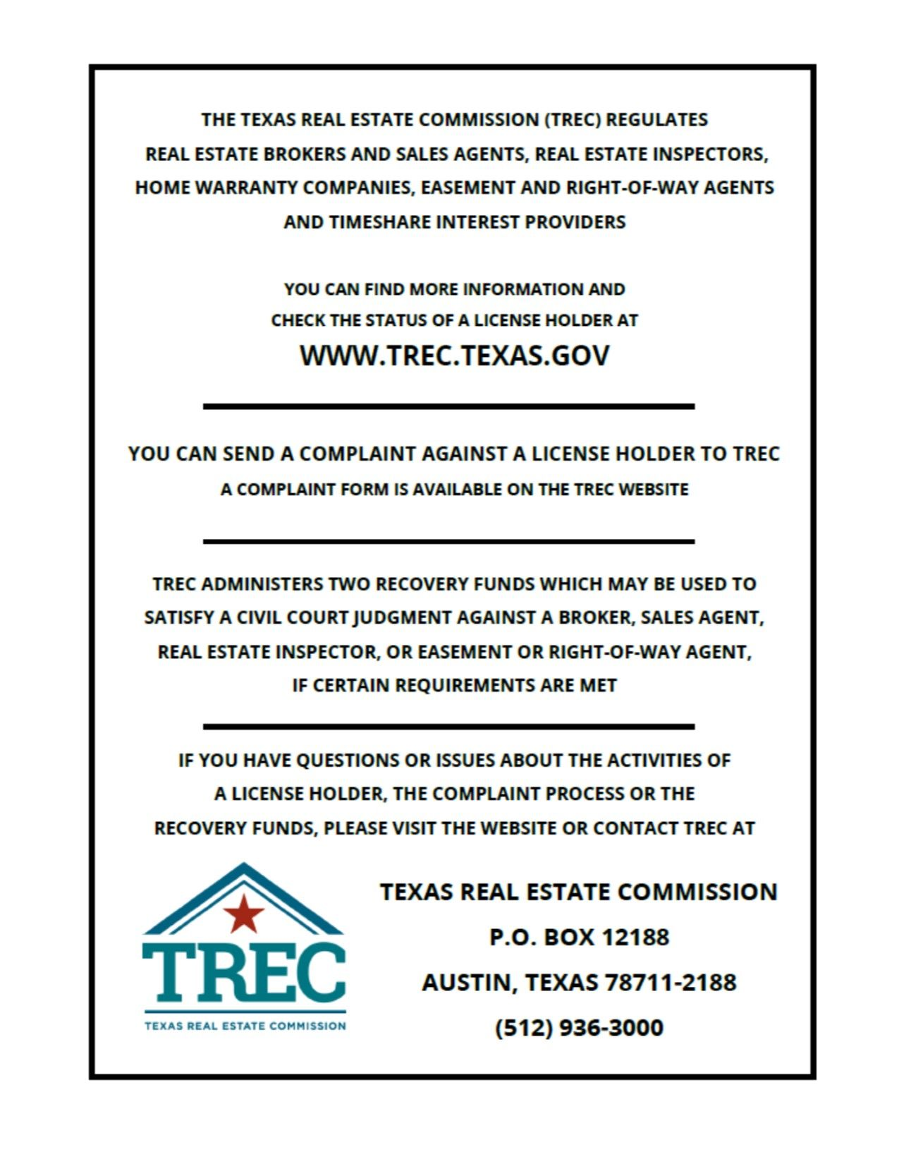 Texas Real Estate Commission Consumer Protection Notice Texas Real Estate Real Estate Home Warranty Companies