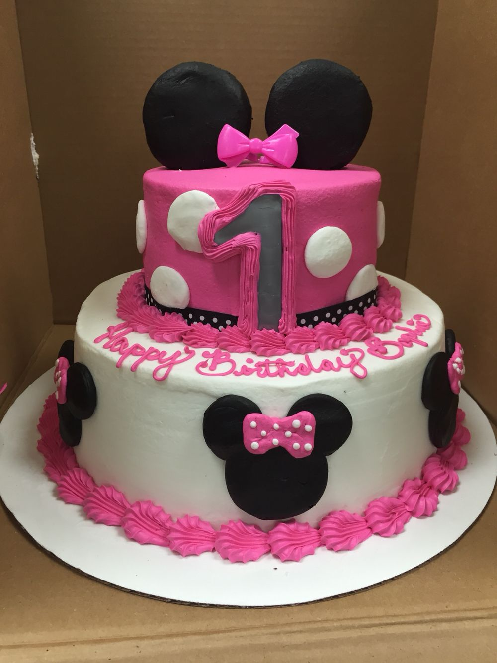 buttercream minnie mouse tier i made at walmart