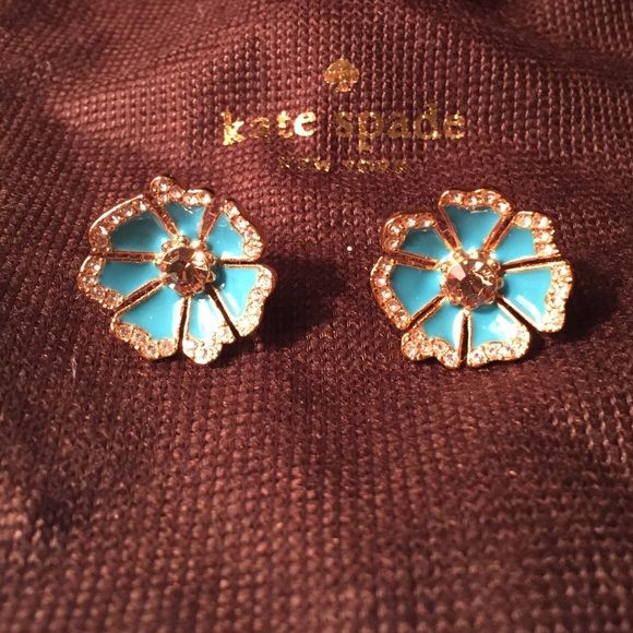 Kate Spade blue flower studs with rhinestones Adorable Kate Spade blue flower studs with rhinestones. Comes with original dust bag.  kate spade Jewelry Earrings