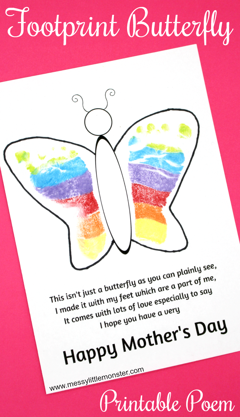 Footprint Butterfly Poem Printable Mother S Day Card Mothers Day Poems Easy Mother S Day Crafts Mother S Day Diy