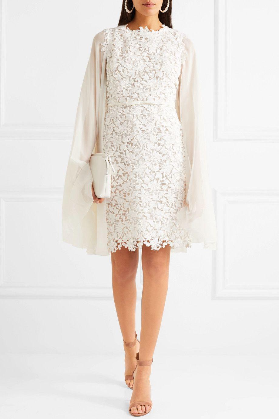 f90076ed280de Giambattista Valli   Cape-effect guipure lace and chiffon mini dress    NET-A-PORTER.COM