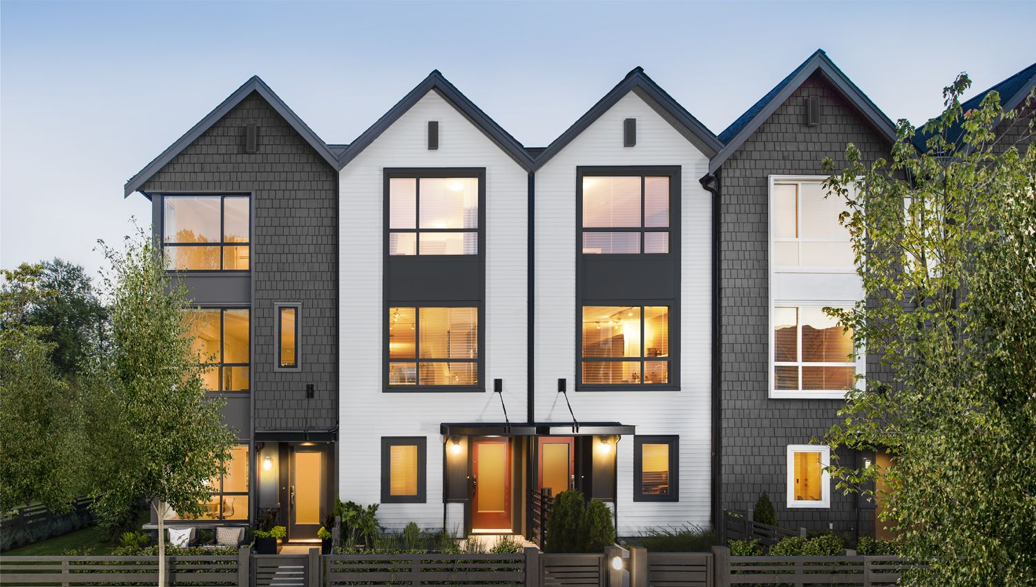 Clayton exterior saltbox architecture pitched gable for Modern townhouse exterior