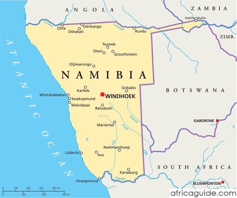 Namibia map with capital Windhoek | Tattoos | Africa, Map ...