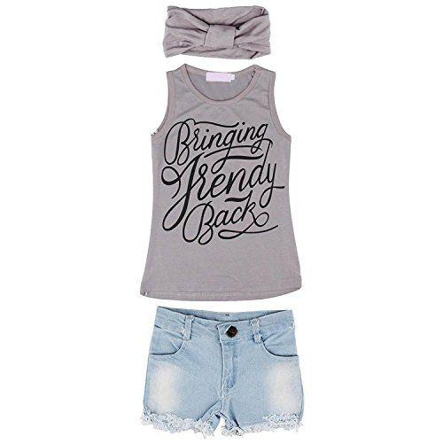 Toddler Kids Baby Girl Outfits Clothes Vest T-shirt Tops+Pants+Headband 3PCS Set