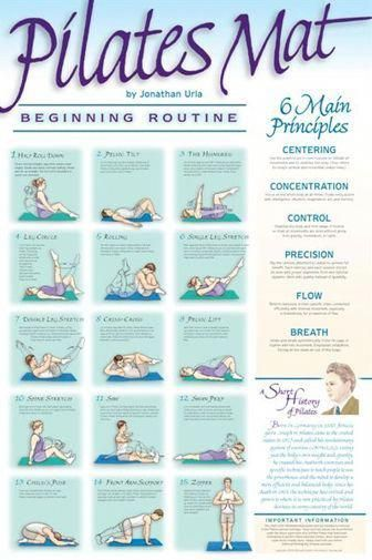 Pilates Mat Workout (Beginning Routine) Fitness Wall Chart Poster - VHI #Fitness