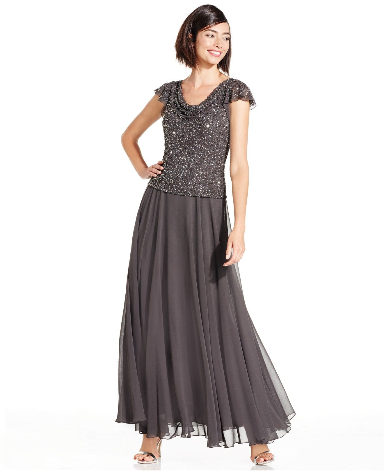 Make a dazzling entrance in J Kara\'s evening gown, featuring a jewel ...