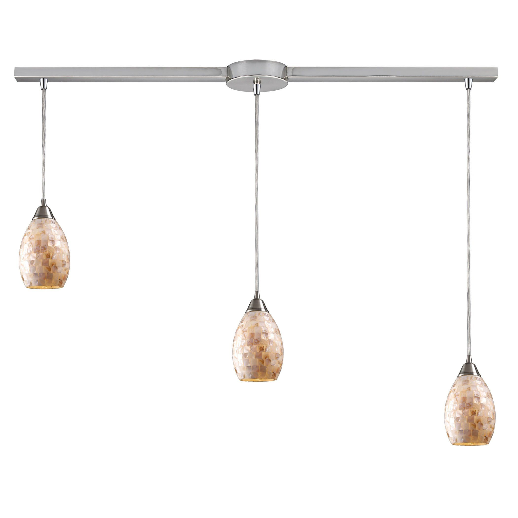 Capri light pendant in satin nickel and capiz shell products