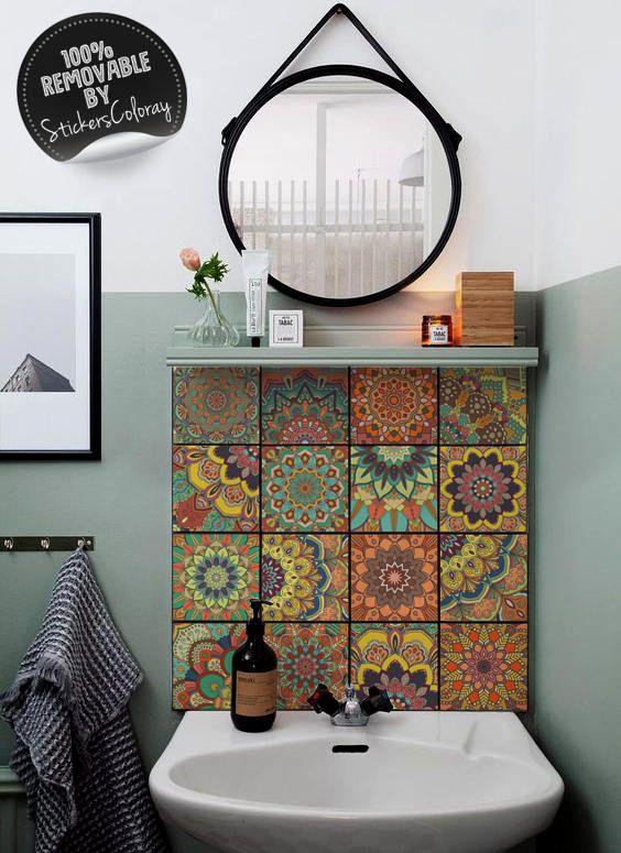 talavera ceramic tiles damask pack of 24 traditional portuguese backsplash decal lisbon. Black Bedroom Furniture Sets. Home Design Ideas