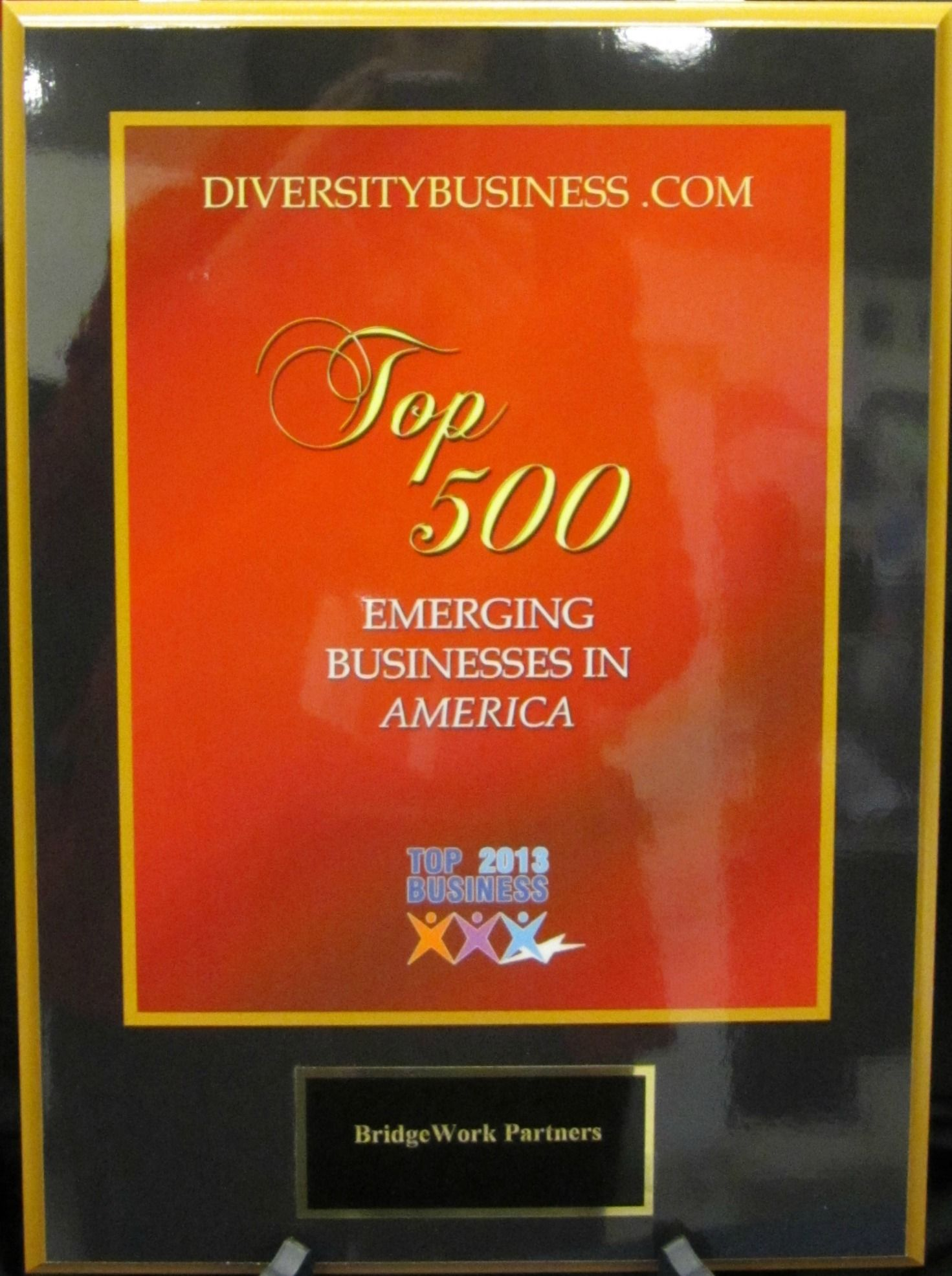 The award received by BridgeWork Partners for Top 500 Emerging Businesses in the U.S. by Diversity Business, 2013.