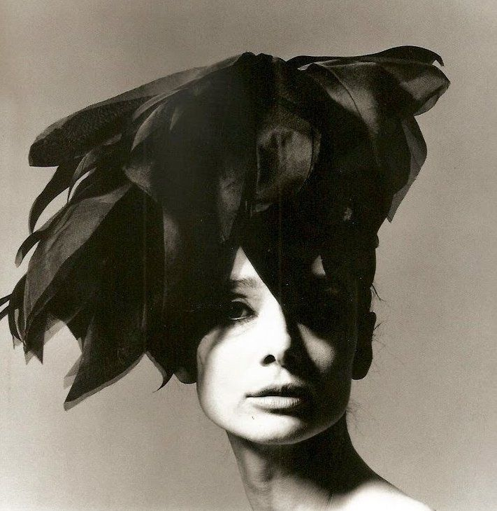 Audrey in organza feathered hat, photo by Bert Stern