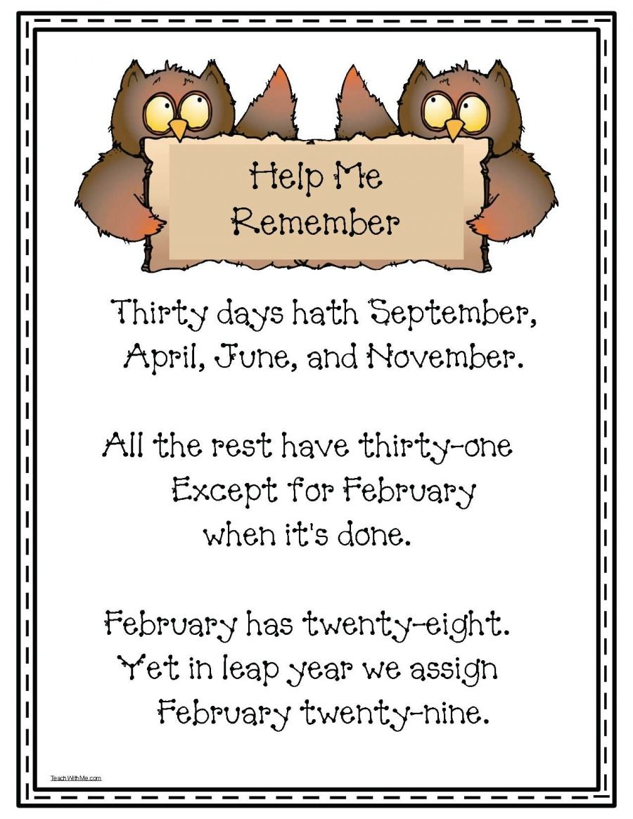picture relating to Thirty Days Hath September Poem Printable called 30 Times Hath September Poster Poem Higher education Calendar