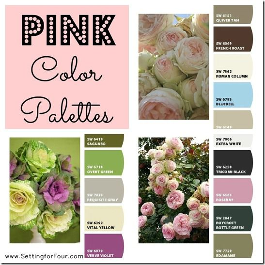 Pink Color Palettes using Sherwin Williams Chip It! from Setting for Four.  Get the skinny here! http://www.settingforfour.com/2013/02/color-palette-pink.html #pink #paint #palette #sherwinwilliams