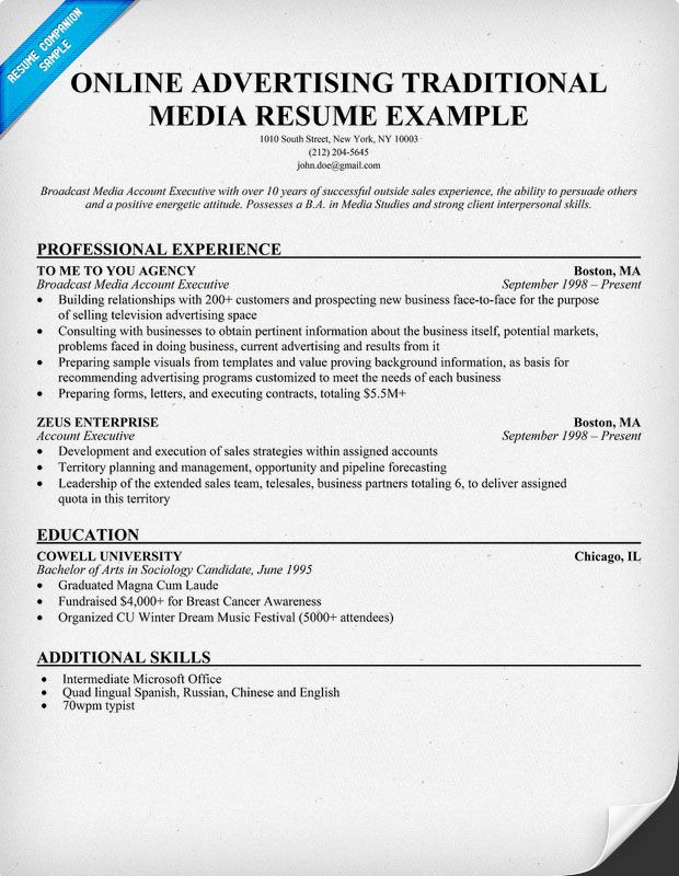 online advertising traditional media resume example - Examples Of Online Resumes