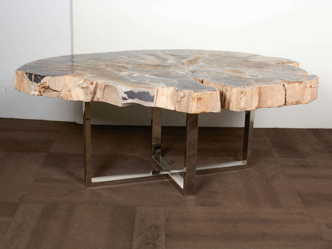 Outstanding Large Petrified Wood Slab Coffee Table | Wood slab ...