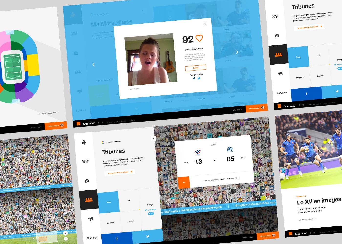 """""""La tribune des Bleus"""" is a digital campaign initiated by Orange™as a sponsor of the Rugby World Cup 2015. Enter a virtual stadium where you can live the entertainment of a real match and support your team."""