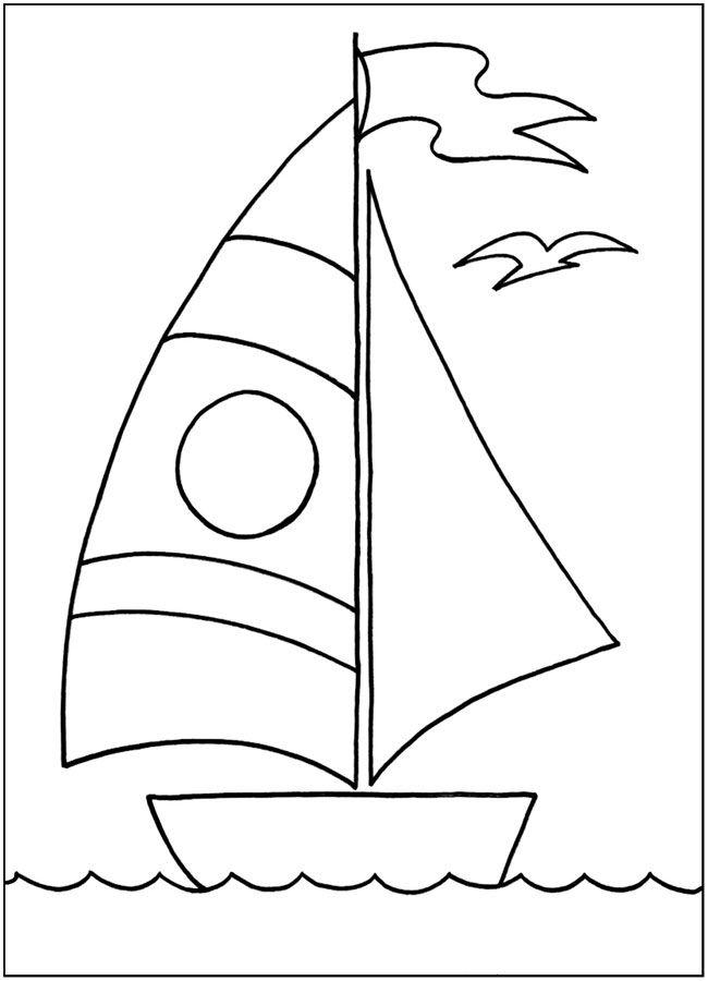 """Картинка для раскрашивания """"Кораблик на море"""". Распечатать ..."""