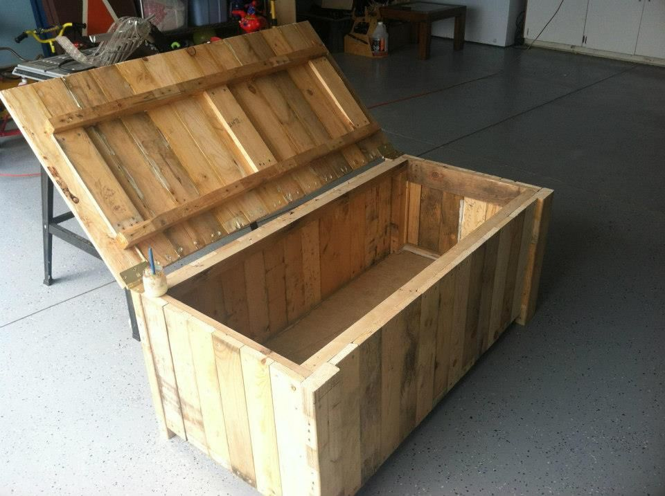 storage deck box from pallet wood needles nails pinterest