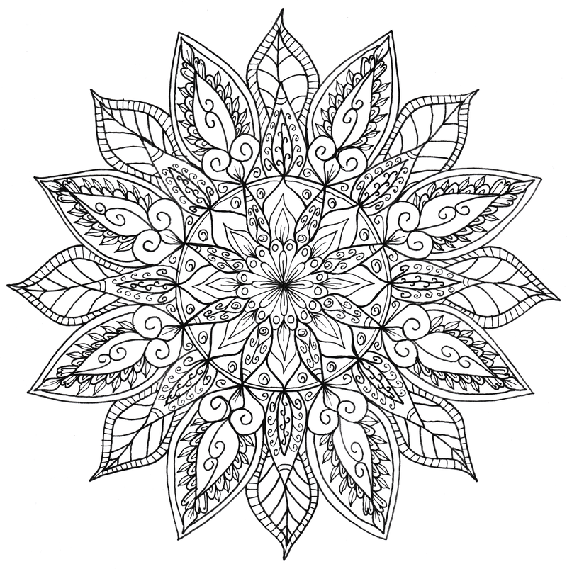 Download The Full Size Mandala On Right To Print And Colour