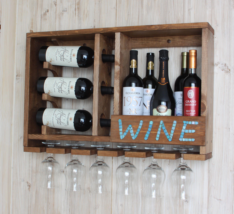 Rustic shelf Wine bottle holder